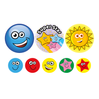 Sticker: Stars And Smiles - Bumper Pack 10 (25mm)