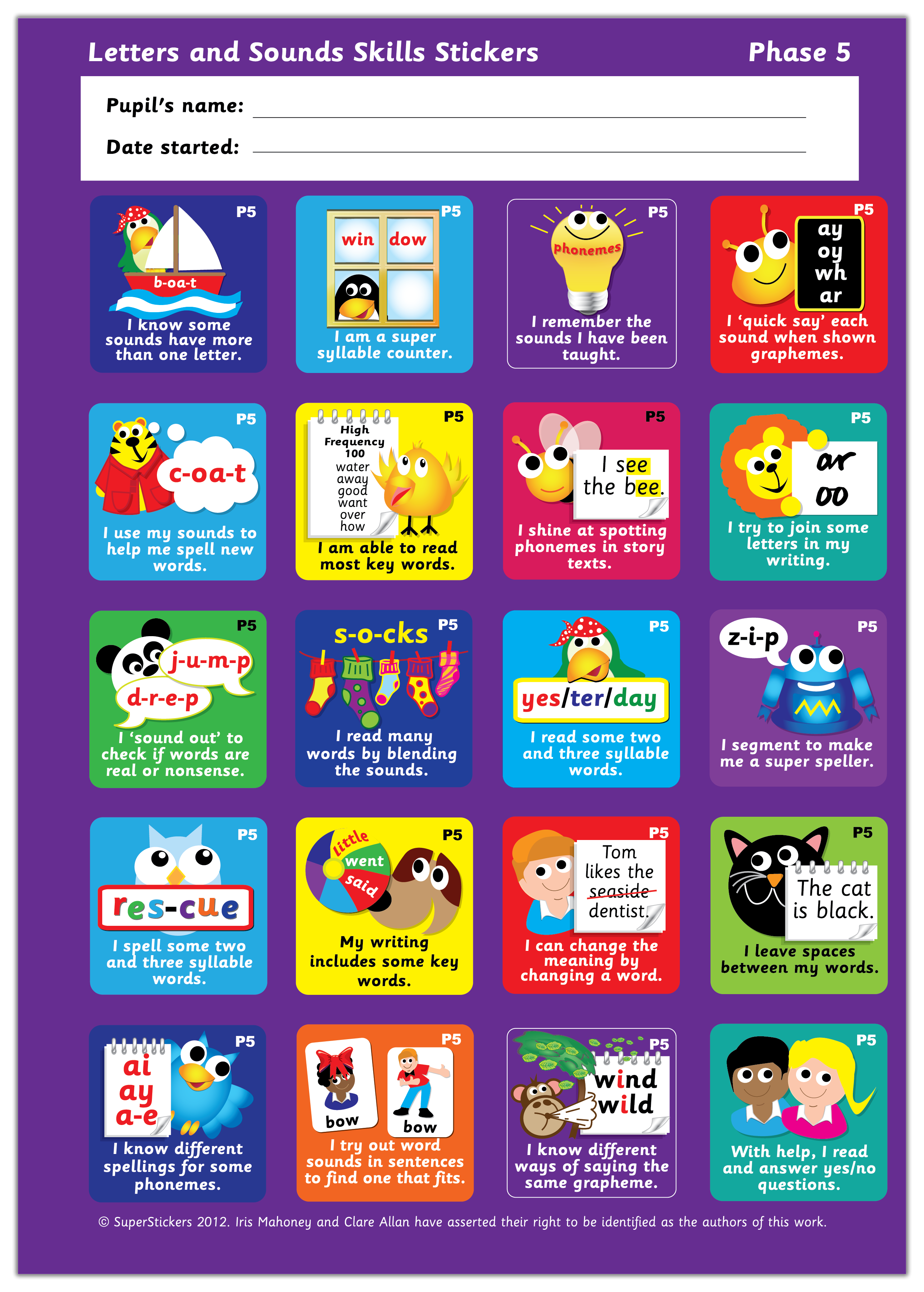 Sticker: Letters and Sounds Skills - Phase 5