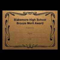 Personalised Certificate: School Name And Award - Bronze (48 Per Pack)