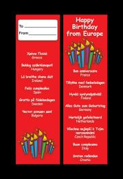 Bookmark: Happy Birthday - Multi-languages