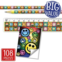 Stationery Set: Smiley Face With Notepads Bulk Pack