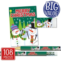 Stationery Set: Merry Christmas - Snowman (Green) Bulk Pack
