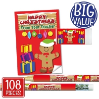 Stationery Set: Happy Christmas From Your Teacher - Gingerbread Man Bulk Pack