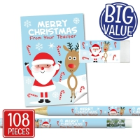 Stationery Set: Merry Christmas From Your Teacher - Santa Bulk Pack