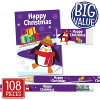 Stationery Set: Happy Christmas - Penguin Bulk Pack