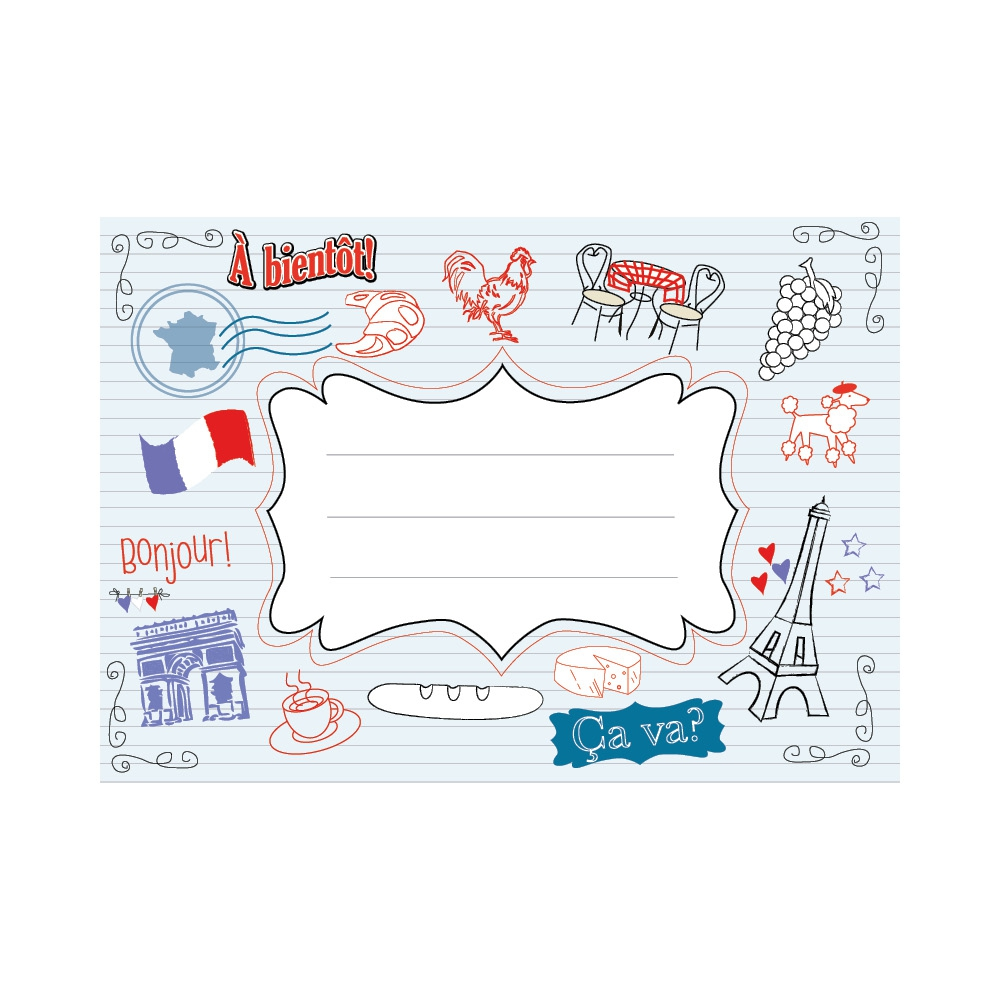 Exercise Book Labels: French Illustrated