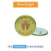 Badge: Personalised - 38mm Gold