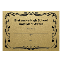 Personalised Certificate: School Name And Award - Gold (48 Per Pack)