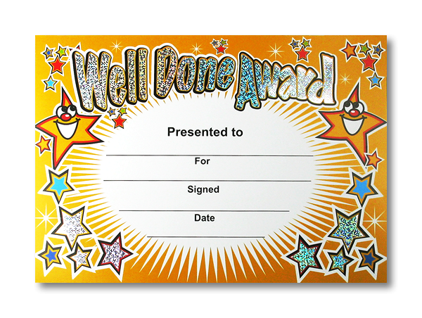 Certificate: Well Done Award - Sparkling