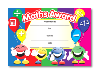 Certificate: Maths Award - smiley faces