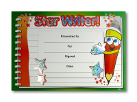 Certificate: Star Writer - Sparkling