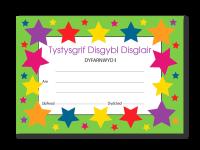 Certificate: Disgybl Disglair Welsh