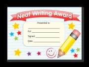 Certificate: Neat Writing Award