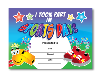 Certificate: I took part in sports day - trainers & whistle