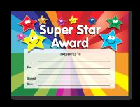 Certificate: Super Star Award - smiley stars