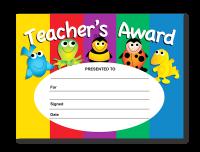 Certificate: Teacher`s Award- Cute Characters
