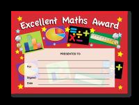 Certificate: Excellent Maths Award