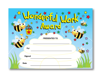 Certificate: Wonderful Work Award - Bees