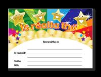 Certificate: Is Réalta Thú! Irish