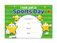 Certificate: I took part in Sports Day