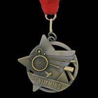 Medal: Gold Swimming Medal On Ribbon
