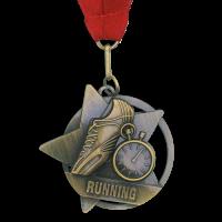 Medal: Gold Running Medal On Ribbon