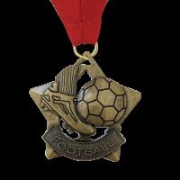 Medal: Gold Football Medal On Ribbon