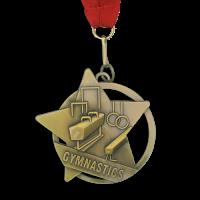 Medal: Gold Gymnastics Medal On Ribbon