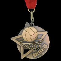 Medal: Gold Netball Medal On Ribbon