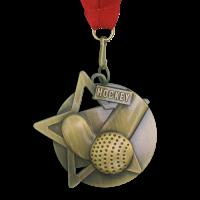 Medal: Gold Hockey Medal On Ribbon