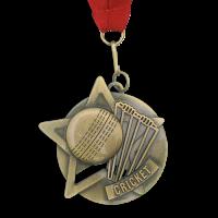 Medal: Gold Cricket Medal On Ribbon