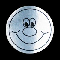 Sticker: Smiley Face - Silver Metallic Foil