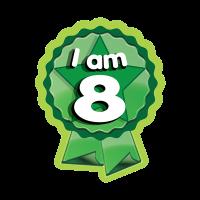 Sticker: I Am 8 - Rosette