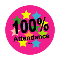 Sticker: 100% Attendance – Stars