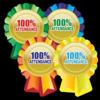 Sticker: 100% Attendance Rosette