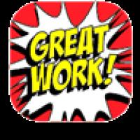 Sticker: Square Cartoon Praise Mini