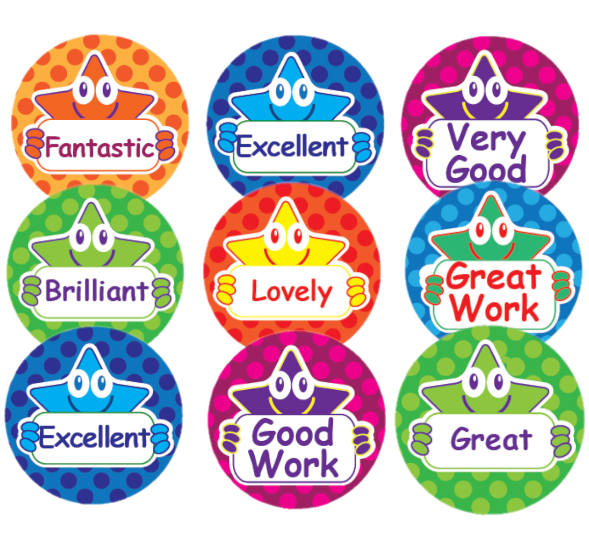 Sticker: Mini Round Variety Sheet with Stars and Words