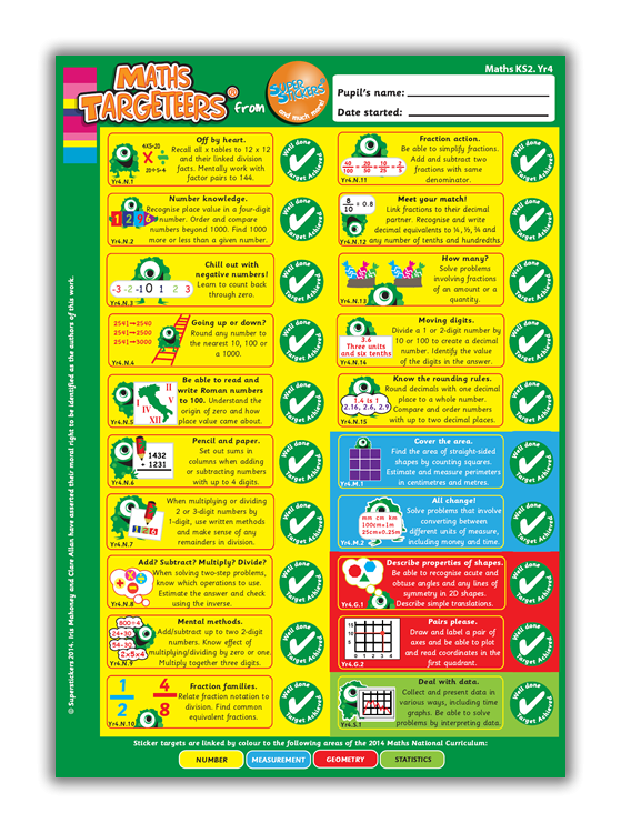 Sticker: Targeteers for Maths Year 4