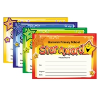 Certificate: Quick Personalised - Star Award (4 Designs, 48 Certs/Pack)