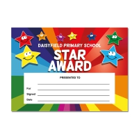Certificate: Quick Personalised - Rainbow Smiley Stars (1 Design, 20 Certs/Pack)