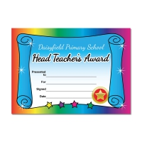 Certificate: Quick Personalised - Rainbow Scroll (1 Design, 20 Certs/Pack)
