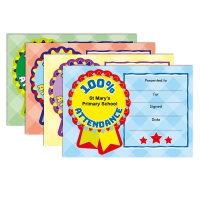 Certificate: Quick Personalised - 100% Attendance (4 Designs, 48 Certs/Pack)