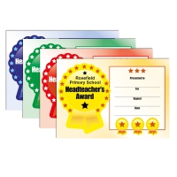 Certificate: Quick Personalised - Headteacher`s Award (4 Designs, 48 Certs/Pack)