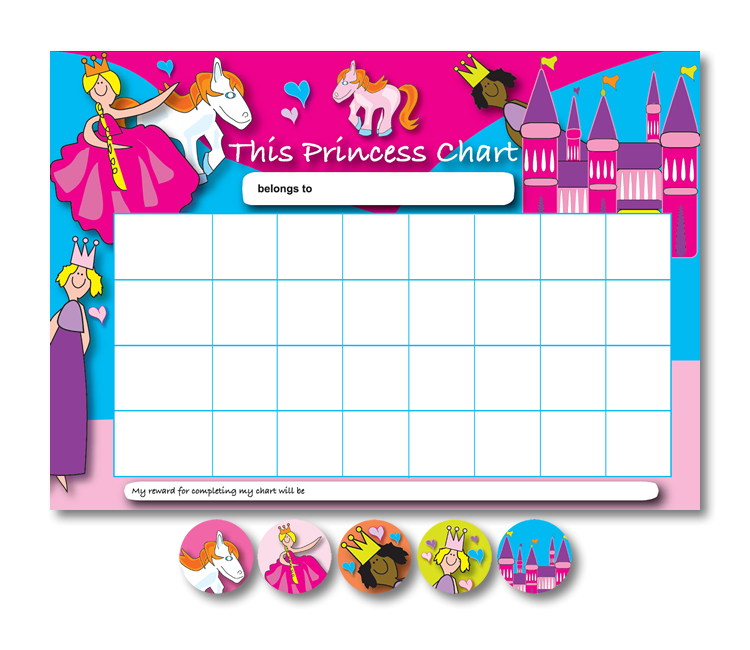 Home Learning Reward Charts And Stickers Set: Princess