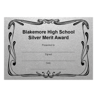 Personalised Certificate: School Name And Award - Silver (48 Per Pack)