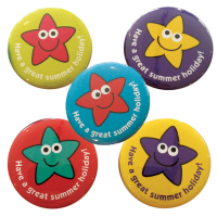 `Have a great summer holiday` end of year star badges - 38mm