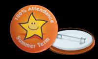 100% Attendance Summer Term Badges - 38mm