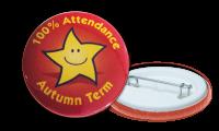 100% Attendance Autumn Term Badges - 38mm