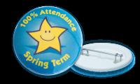 100% Attendance Spring Term Badges - 38mm
