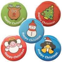 38mm `Happy Christmas` Badges: Mixed Designs: 20 Badges